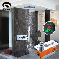 Chrome LED 20Inch Shower Faucet Mixer Sets Thermostatic Display Screen Wall Mounted Handshower Hot&Cold Two Function Switch