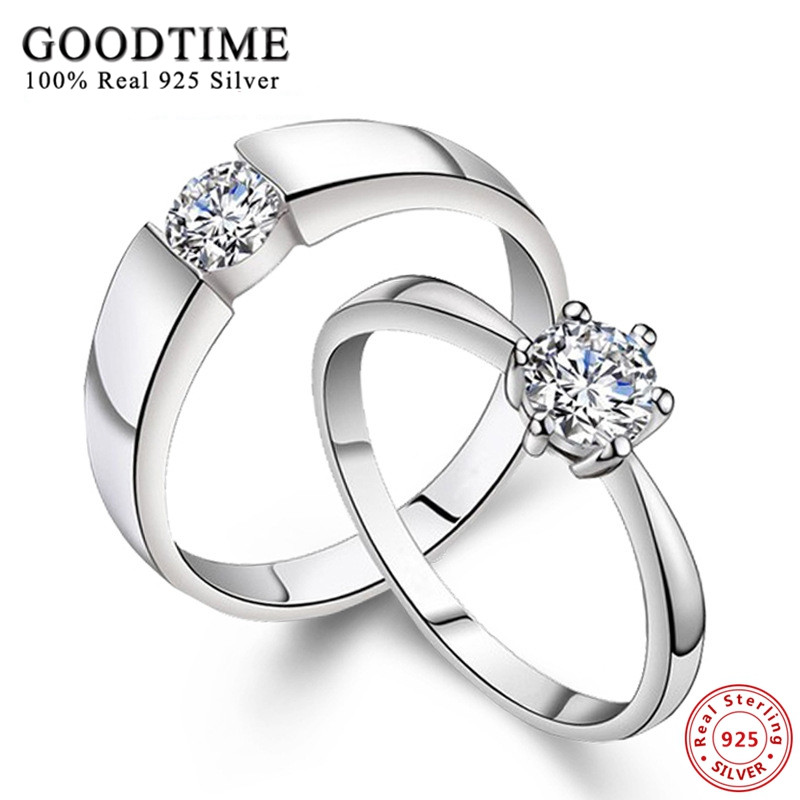 c6c6939b3c33 1PCS Hot Sale Classic 925 Sterling Silver Zirconia Wedding Rings for Women  Men Fashion Sterling Silver Jewelry Engagement Ring