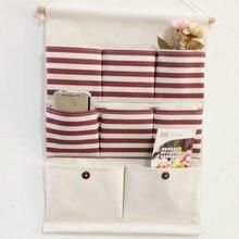 Super útil 8 bolsillos colgantes bolsas de almacenamiento Vintage de rayas de la puerta de la pared de la joyería del organizador de la Bolsa de la percha
