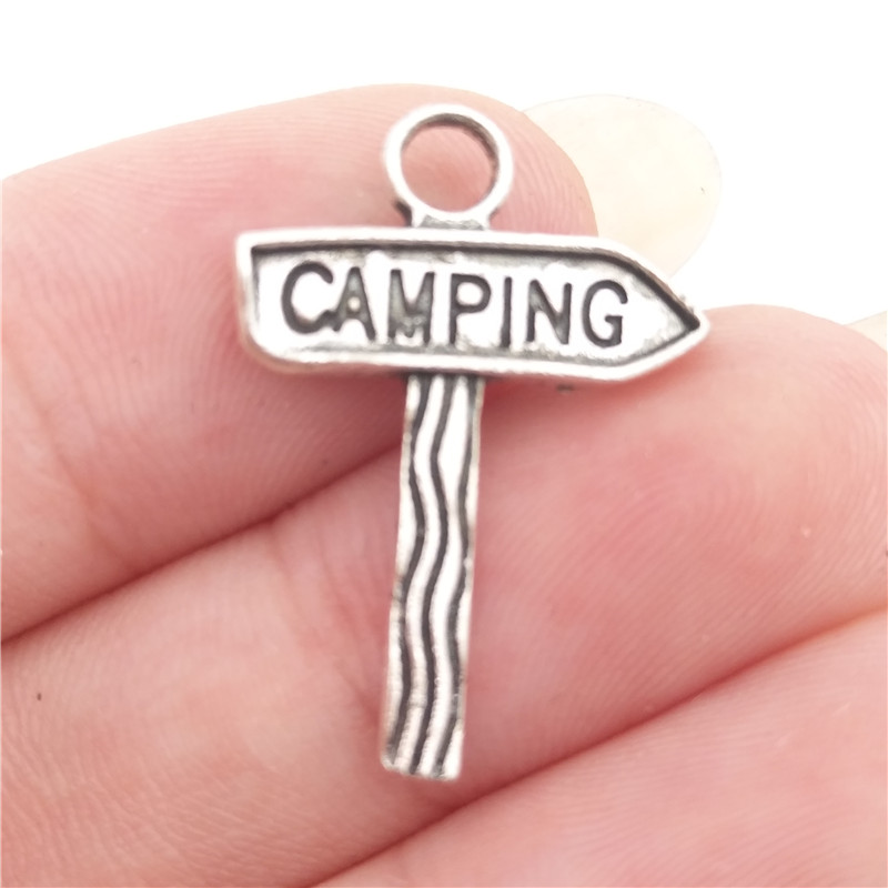 BULK 30pcs Lots Nickle Free Alloy Camp Camping Sign Charms Antique Silver Tone Metal DIY Jewelry Making 15*22mm 1g