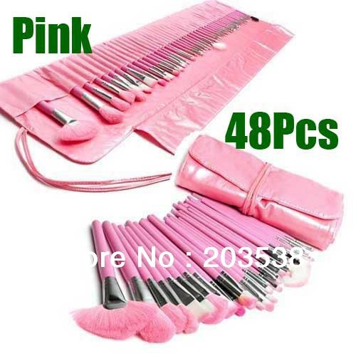 48 pcs Pink Make up Cosmetic Brushes Kit Full Set With Bag,Makeup Brushes For Makeup