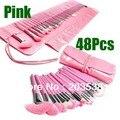 48 pcs Rosa Make up Brushes Cosméticos Kit Conjunto Completo Com Saco, Maquiagem Pincéis Para Maquiagem