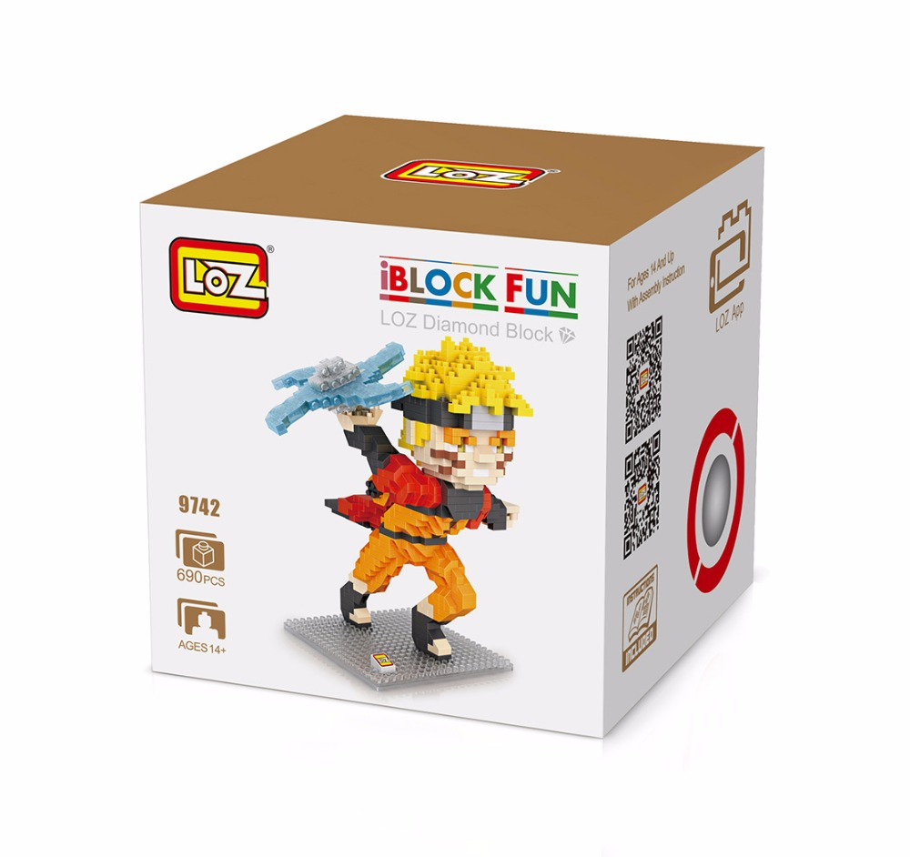 LOZ Diamond blocks cartoon DIY Building toys Naruto character model Auction Figures 9650-9742 loz mini diamond block world famous architecture financial center swfc shangha china city nanoblock model brick educational toys