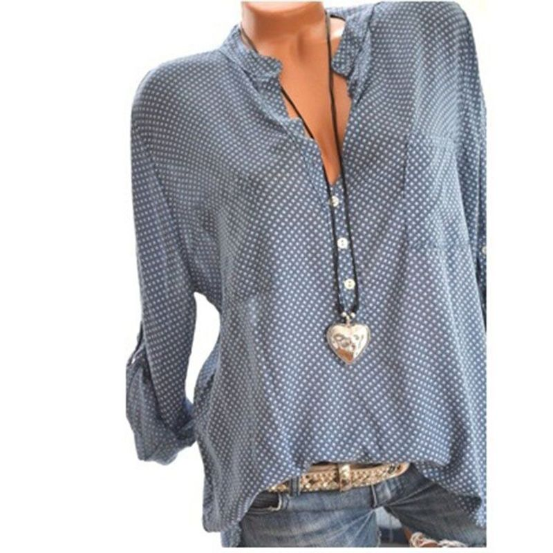 2019 New Large Size Women's Shirts Autumn Spring Tops Loose V Neck Polka Dot Printed Blouse Plus Size S-5XL Blusas Elegante