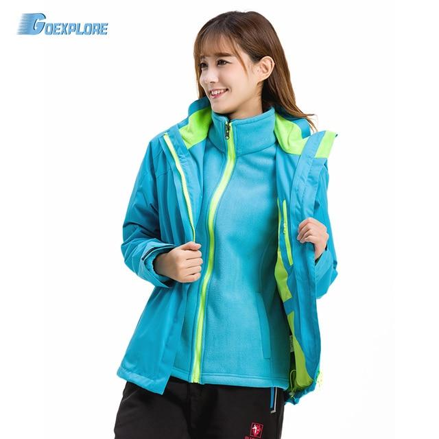 Goexplore Winter Coat For Women 3 in 1 Double Layer windproof warm Climbing hiking Ski thicken waterproof Outdoor jacket Female