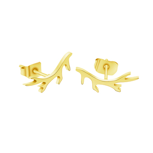 ACEBFEET Simple Branch Stud Earrings For Women Christmas JewelryStainless Steel Brincos Para As Mulheres Gold Bijoux Femme
