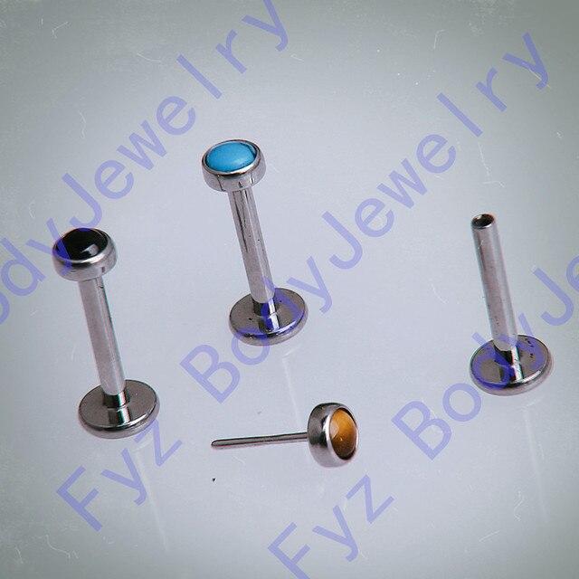 16g 18g G23 التيتانيوم الملولبة دفع دبوس أسود الجزع الأذن الغضروف هيليكس الزنمة مربط Labret شفة ثقب مجوهرات للجسم
