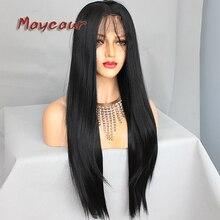 Прямі волосся синтетичні шнурки Фартунг перуки з дитяче волосся для чорних жінок чорні шнурки фронт волосся парик з натуральним волосся
