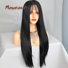 hot deal buy long straight hair wigs with baby hair synthetic lace front wigs for black women black lace front hair wig with natural hairline