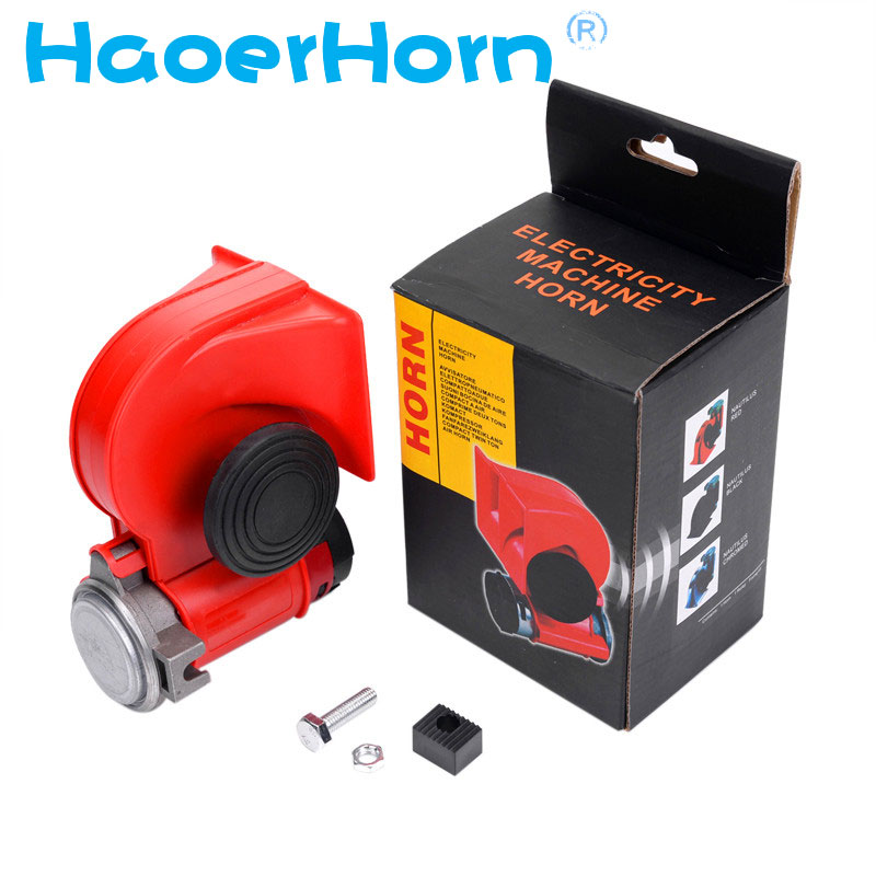 Super Loud GZHAOER Car Motorcycle Truck 12V Red Compact Dual Tone Electric Pump Air Loud Horn Vehicle Siren Free Shipping vodool 12v 125db car motorcycle truck horn compact electric pump air loud horn high quality for motorcycle car truck