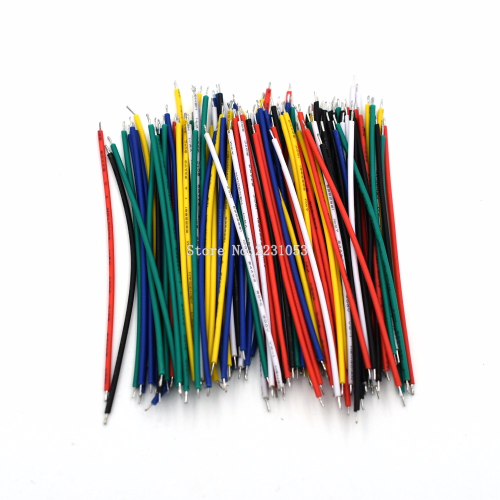 120PCS UL1007 24AWG Breadboard Jumper Cable Wires Kit 8cm Fly Jumper Wire Cable Tin Conductor Wires 5 Colors PCB Solder Cable breadboard jumper wires for arduino works with official arduino boards 8 20cm 68 cable pack