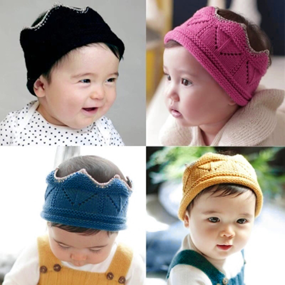 Cute Crown Shape Baby Knitted Headband Cap Autumn Winter Baby Boys Girls Hair Decoration Accessories Headwear Warm Knitting Hat