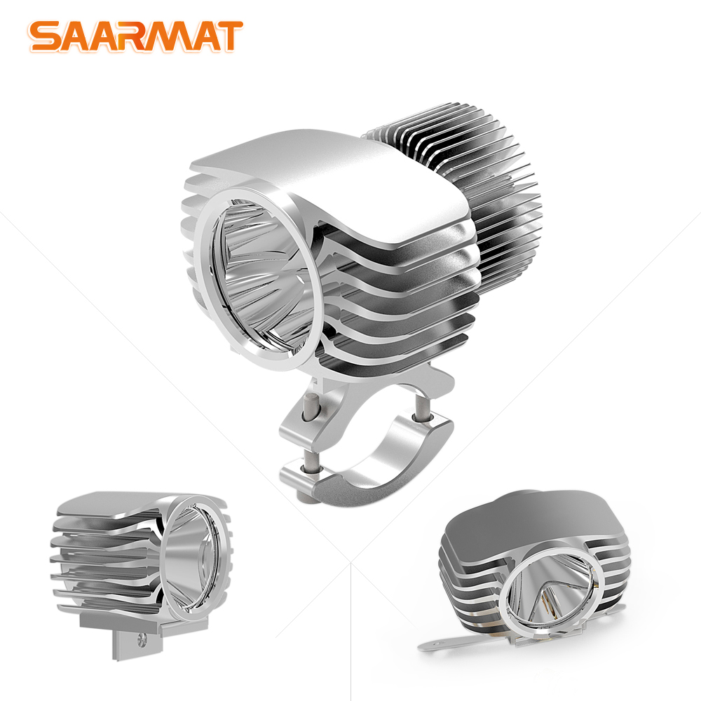 SAARMAT One 18W 6W LED Car External Motorcycle Headlight 15W 10W White High Low DRL Headlamp Spotlight Drive Fog Spot Lights