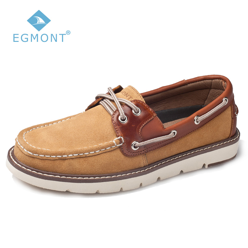 Egmont Spring Summer Boat Shoes Logging Mens Casual Shoes Loafers Genuine Leather Handmade Comfortable Driving Shoes Breathable цены онлайн