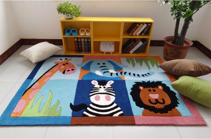 WINLIFE Cute Cartoon Animal Print Rugs Designer Zoo World Kids Rugs And Carpets Elegant Blue Sky Carpet Mats Bedroom
