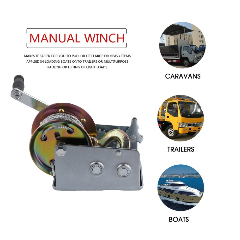 New 10M Cable Hook Boat Truck Auto Hand Manual Winch 2500lbs Trailer Marine Hand Power Puller Hand Tool Lifting Sling