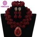 2017 Lady Wedding Beads Jewelry Set Wine Dard Red African Crystal Beads Necklace Set Fashion Women Jewelry Free shipping WA782