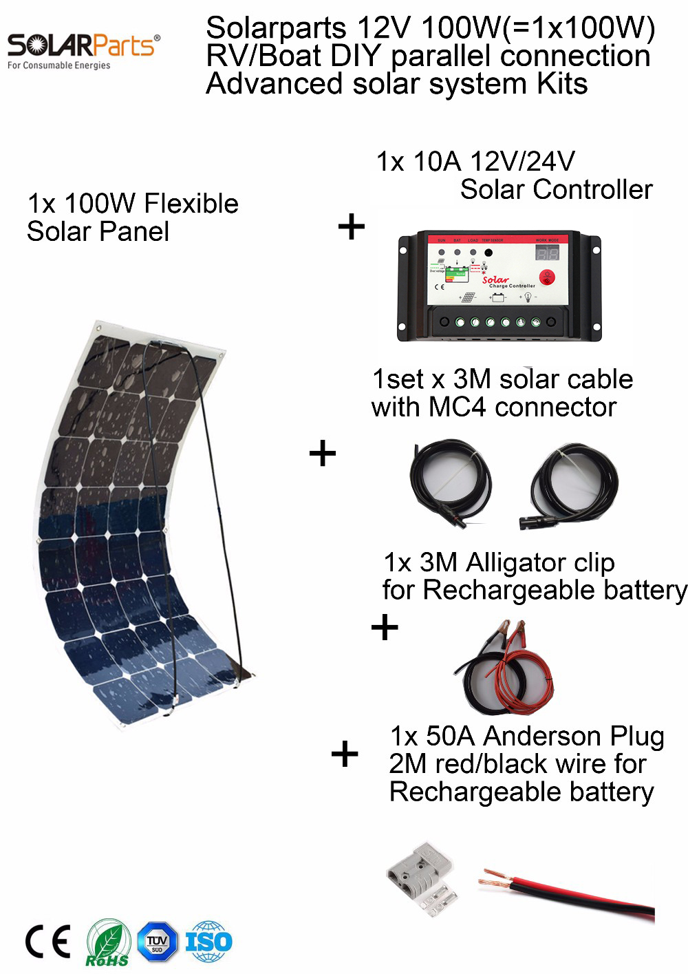 Solarparts 100W DIY RV/Marine Kits Solar System 1x100W flexible solar panel 12V,1x 10A 12V solar controller set cables cheap . solarparts 100w diy rv marine kits solar system1x100w flexible solar panel 12v 1 x10a 12v 24v solar controller set cables cheap