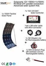 Solarparts 100 w diy rv/marine kits sistema solar 1×100 w panel solar flexible 12 v, 1x 10a 12 v regulador solar conjunto de cables barato.