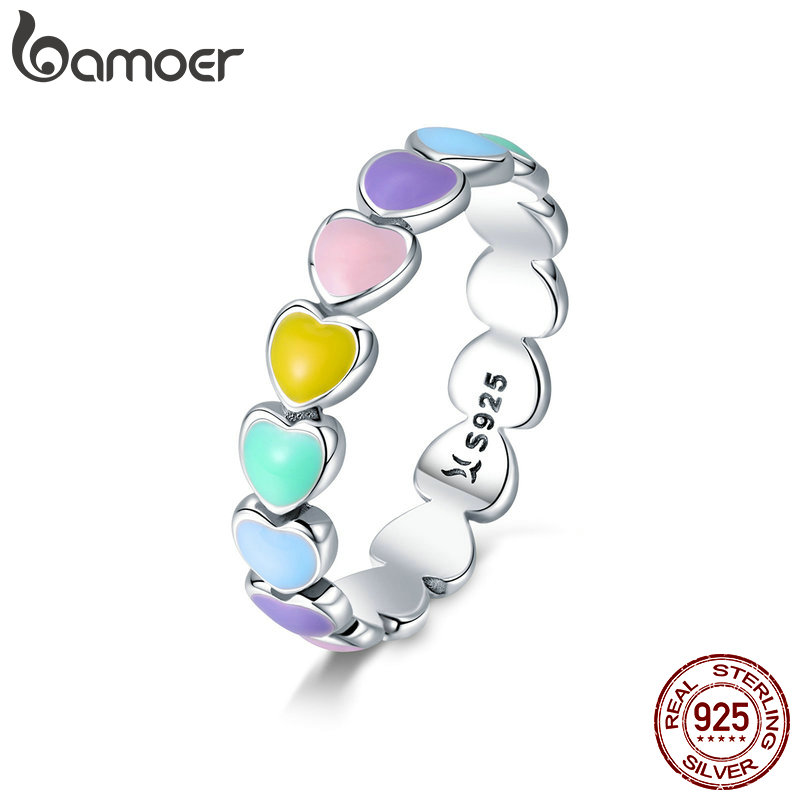 BAMOER Authentic 925 Sterling Silver Stackable Rainbow Heart Finger Rings for Women Wedding