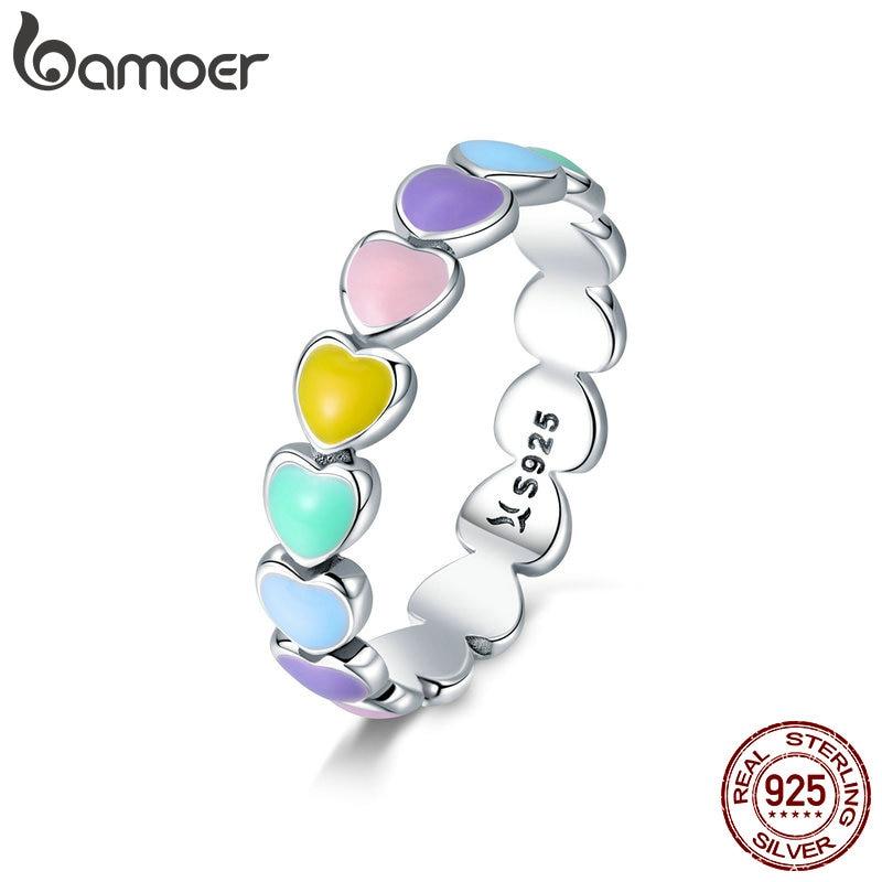 fdfc304fafac BAMOER auténtica Plata de Ley 925 apilable arcoíris corazón dedo anillos  para mujeres boda anillo de compromiso joyería Anel SCR444 - www.salleram.ga