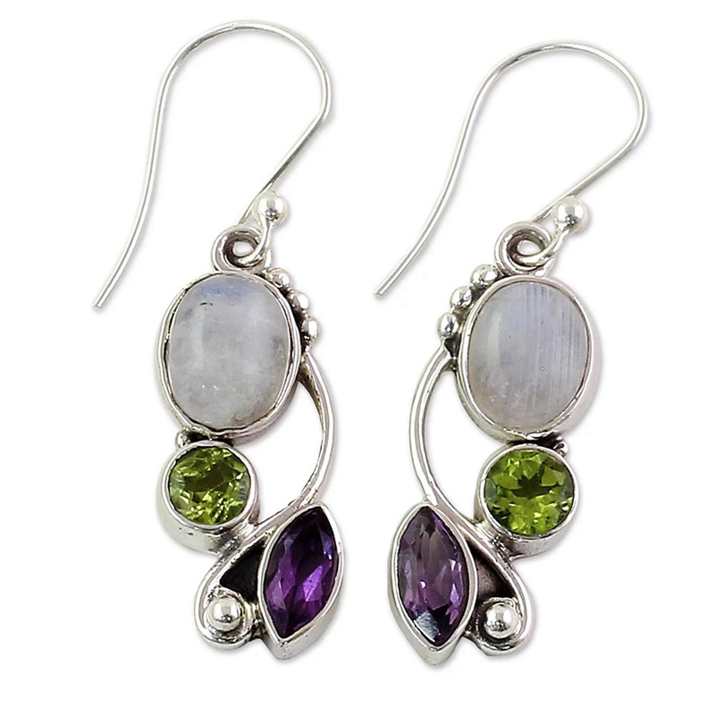 Vintage Imitation Moonstone Brincos Multicolor Crystal Dangle Earrings For Women Wedding Jewelry Boho Statement Earring