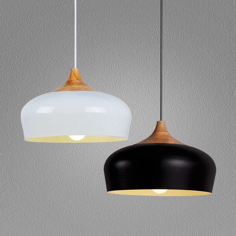 Modern lamps pendant lights Wood and aluminum lamp diameter 30/35cm restaurant bar coffee dining room LED hanging light fixture modern lamps pendant lights wood and aluminum lamp black white restaurant bar coffee dining room led hanging light fixture