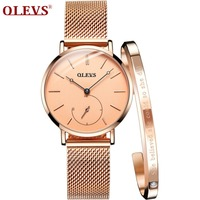 OLEVS 2018 NEW Women Watch Elegant Brand Famous Luxury Gold Quartz Watches Ladies Steel Clock Geneva Wristwatches Relogio Gift