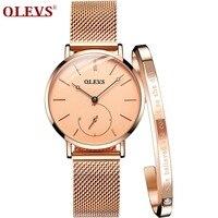 OLEVS 2018 NEW Women Watch Elegant Brand Famous Luxury Gold Quartz Watches Ladies Steel Clock Geneva Wristwatches Relogio Gift