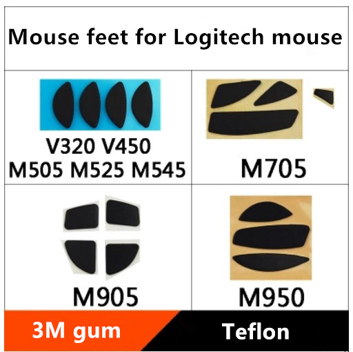 2 Sets/pack Mouse Feet For Logitech M950T/M905/M705/M505/M525/V320 Teflon Mouse Skates