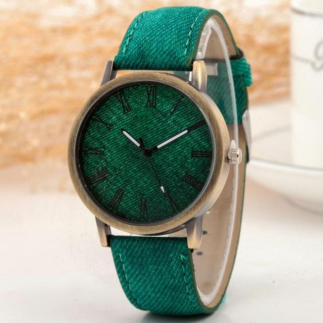 MINHIN Hot Sale Women Denim Band Quartz Watch Classic Casual Watches Rome Number