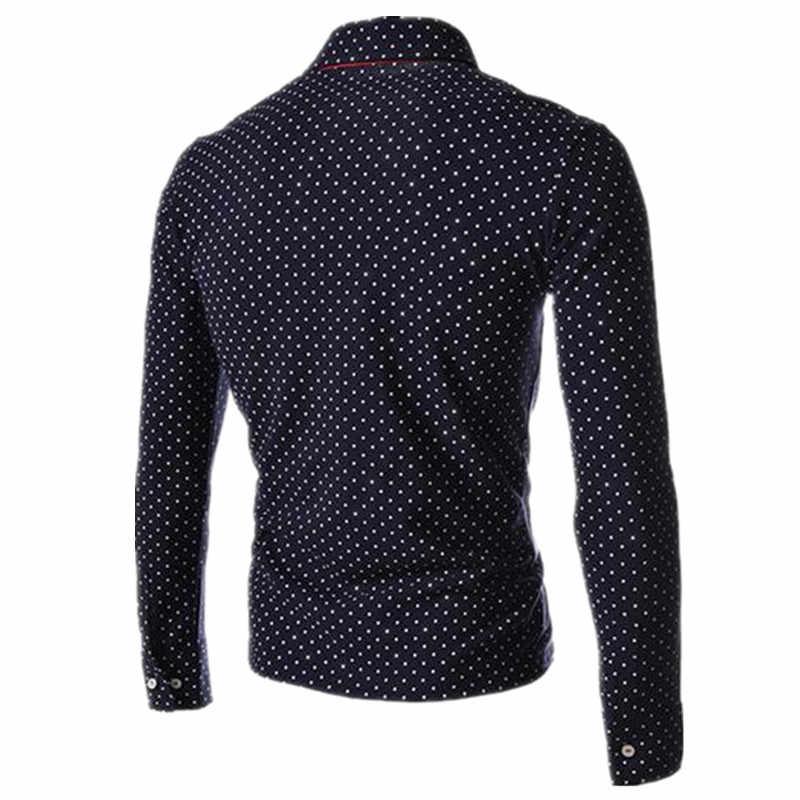 Men Polo Shirts 2019 New Autumn Man Fashion Polka Dot Long Sleeve Polo Shirt Male Button Henley Neck Casual Slim Fit Camisa Polo