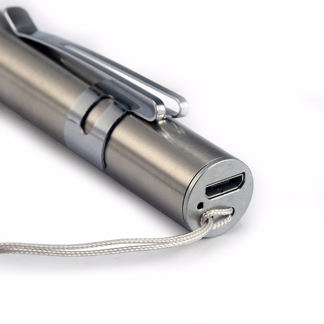 Rechargeable LED Flashlight Pen light MINI Torch Cool white + warm white light With USB charging cable Used for camping, doctors