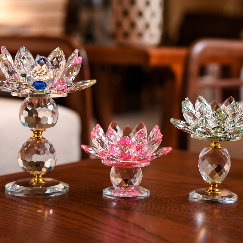 three Type Crystal Glass Lotus Flower Candle Tea Gentle Holder Buddhist Candlestick Residence Ornament(eight Colours Choose) Collectible figurines & Miniatures, Low-cost Collectible figurines & Miniatures, three Type Crystal Glass...