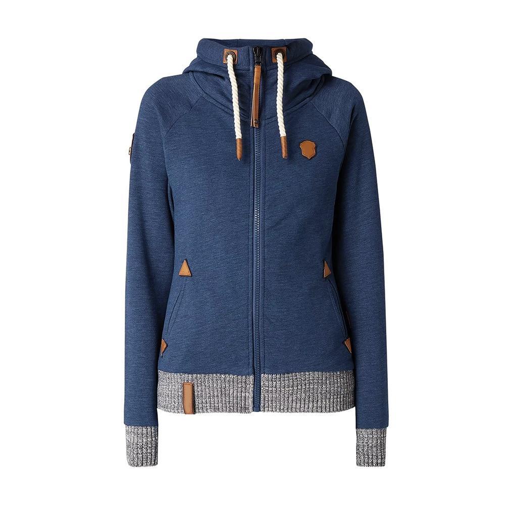 Casual Autumn Plus Size Blue High Street Women Hoodies Slim Hooded Zipper Pockets Fall Female Fashion Gothic 2019 Top Sweatshirt in Hoodies amp Sweatshirts from Women 39 s Clothing