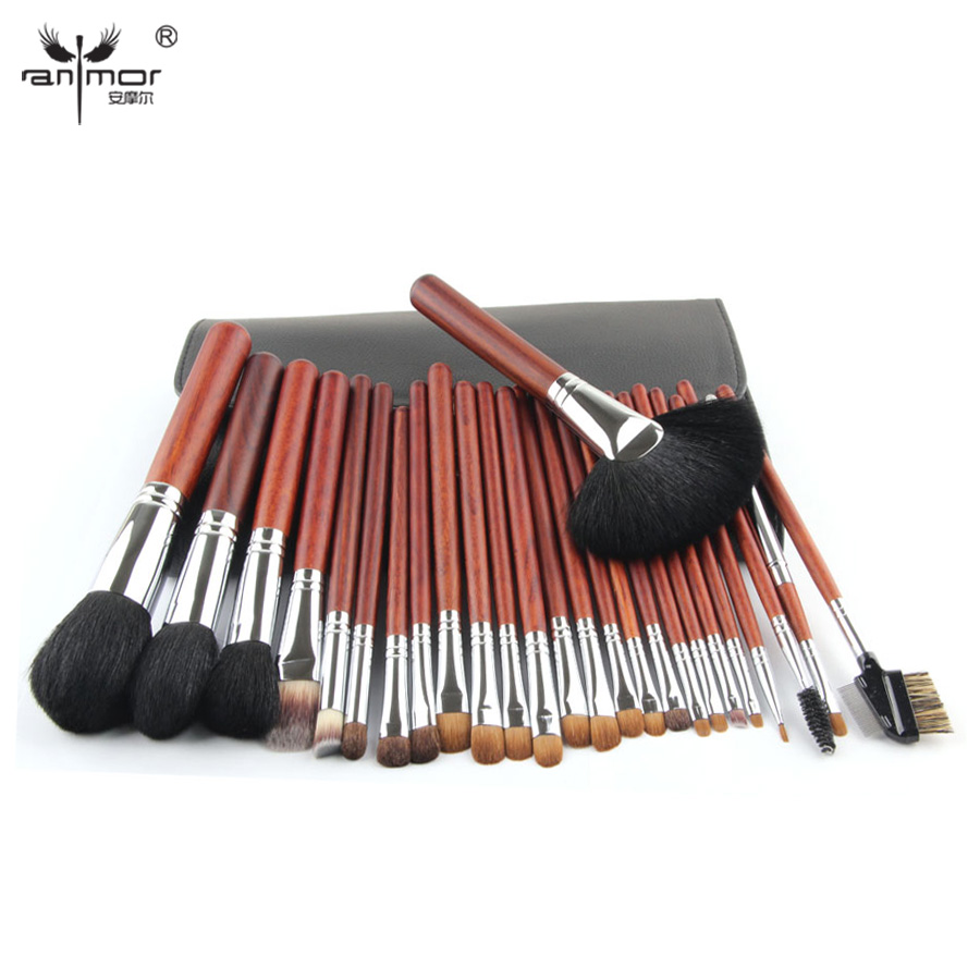 Top Quality Copper Ferrule Makeup Brushes 26 pcs Professional Makeup Brush Set Black Pinceaux Maquillage With Leather Bag Q02 цена 2017