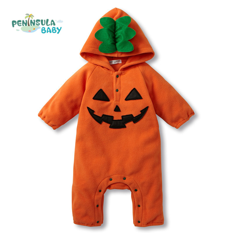 Baby Pumpkin Romper Winter Autumn Long Sleeve Baby Hooded Romper Newborn Clothes Infant Coveralls Halloween Costume unisex winter baby clothes long sleeve hooded baby romper one piece covered button infant baby jumpsuit newborn romper for baby