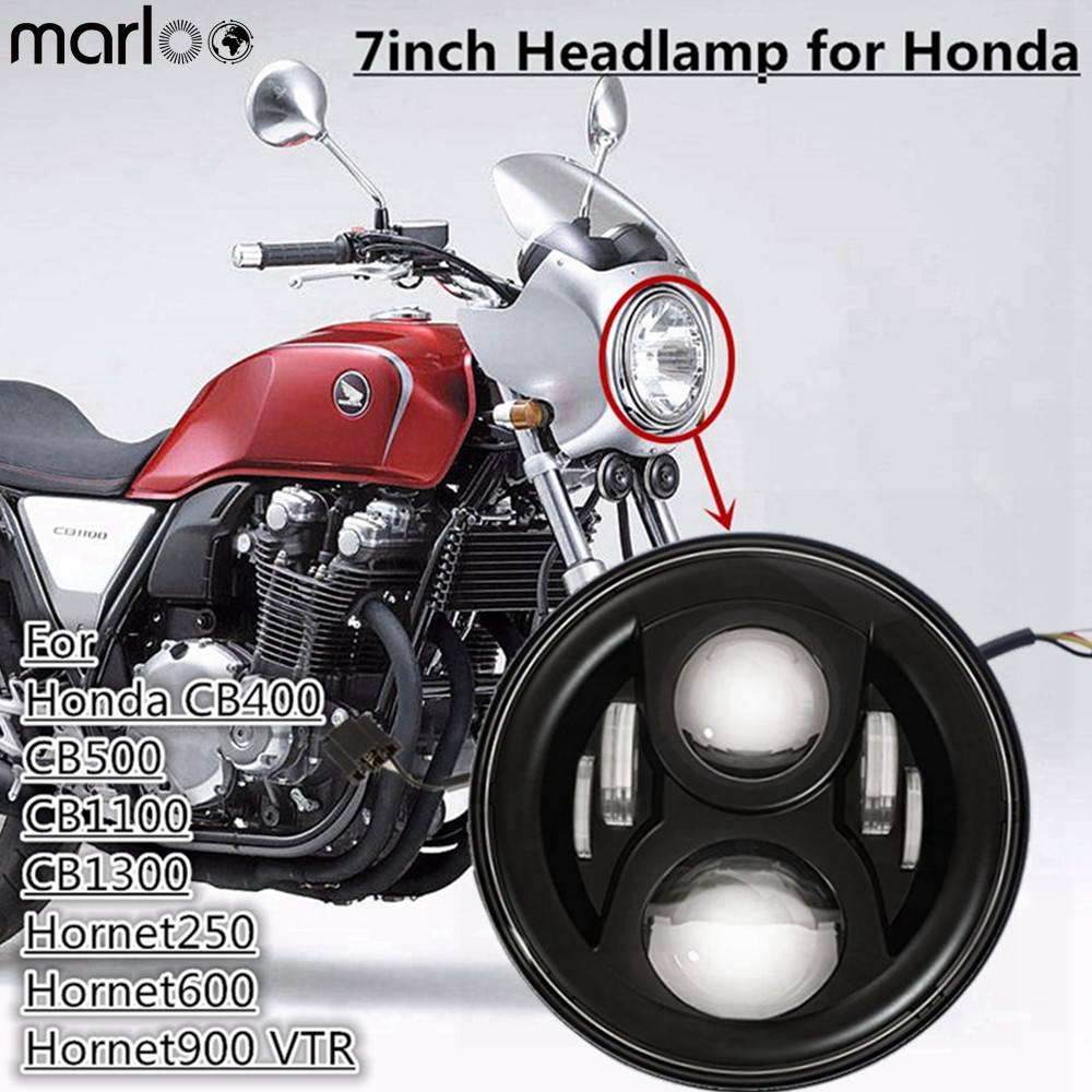 Marloo For <font><b>Honda</b></font> CB400 CB500 CB1300 Hornet 250 600 900 VTEC <font><b>VTR250</b></font> 7 Inch Round Motorcycle <font><b>Headlight</b></font> For <font><b>Honda</b></font> Light image