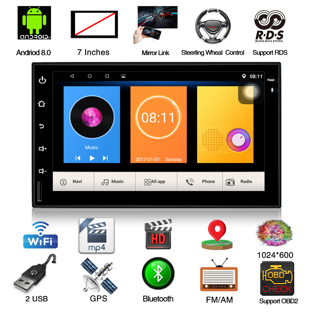 Car Multimedia Player Android8 0 7 Touch Car Radio Player GPS Navigation Universal 2 Din WiFi