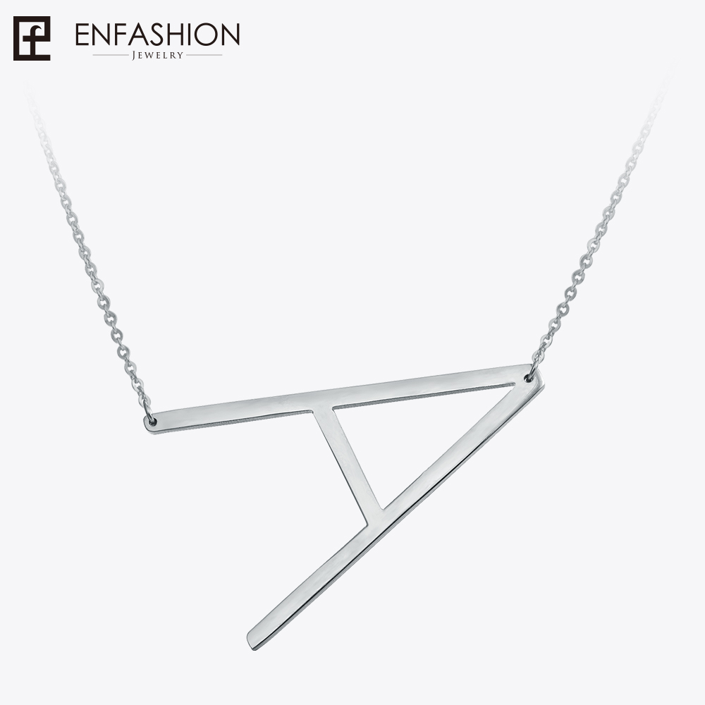 Enfashion Letter Necklaces Pendants Alfabet Initial Necklace Stainless Steel Choker Necklace Women Jewelry Kolye Collier collare enfashion classic natural stones necklaces pendants crystal necklace gold color choker necklace for women jewelry kolye collier