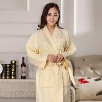 plus size men's and women's cotton Bathrobe kimono hotel bathrobe spring and summer Waffle sweat evaporate couples bath robe