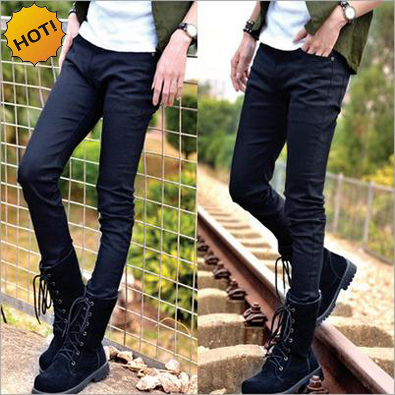 Hot Style Boys Slim Fit Teenagers Thin Denim Jeans Casual Cheap Black Bottoms Cuffed Stretch Handsome Pencil Pants Men 28-34