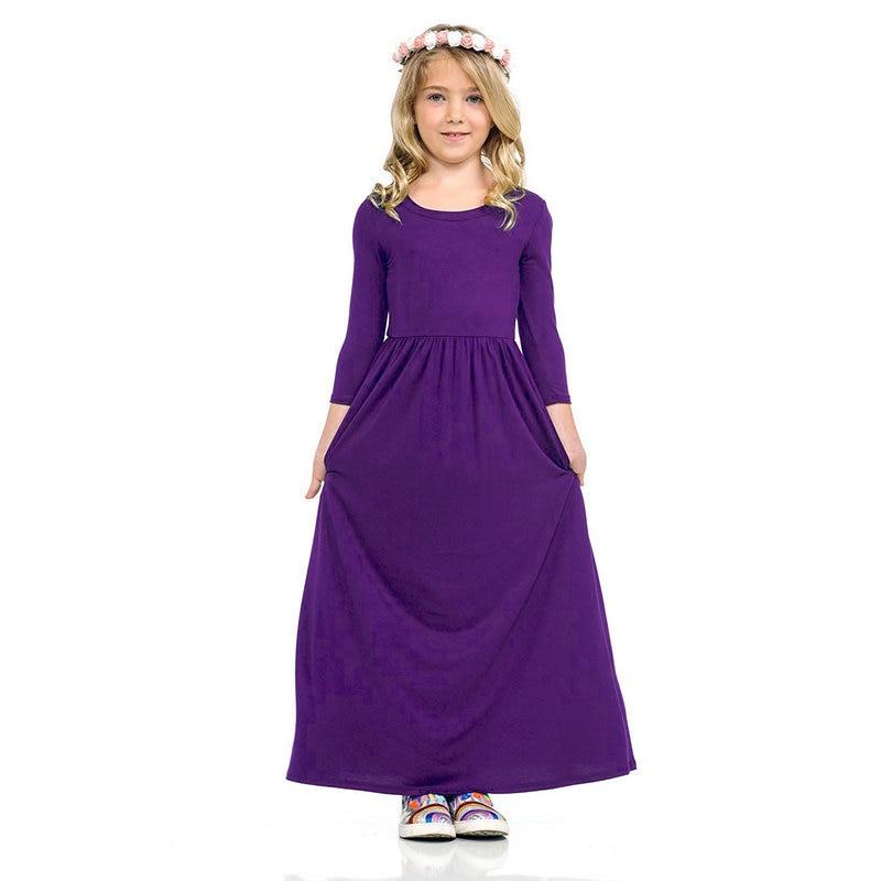 3e3939773877b LONSANT Long Sleeve Dresses Winter Kids Muslim Islamic Dresses ...