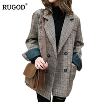 RUGOD Fashion Plaid Blazers Women Casual Notched Trench Coat For Women Long Sleeve Warm Winter Clothes ropa mujer invierno