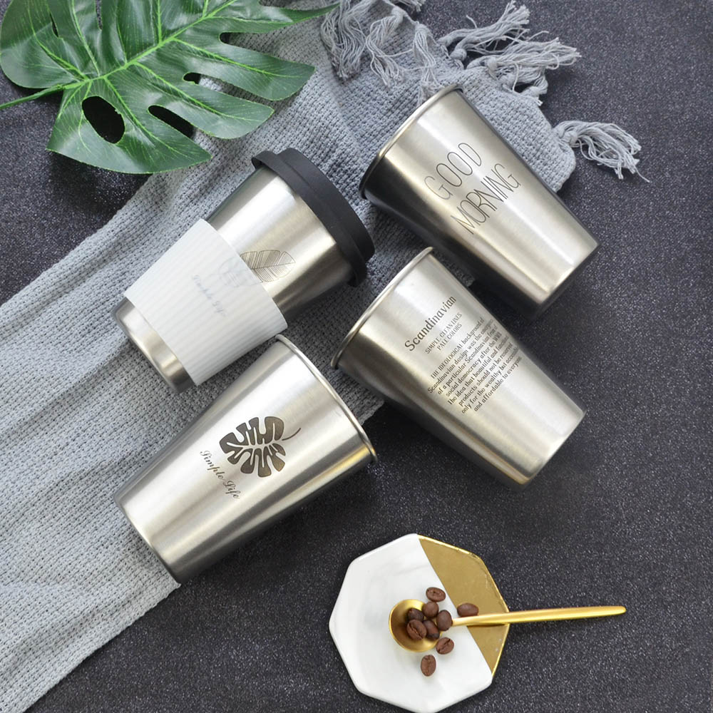 Stainless Steel Cup With Silicone Lid Sleeve Cup Sleeve Coffee Milk Beer Cup Portable Mug Chic