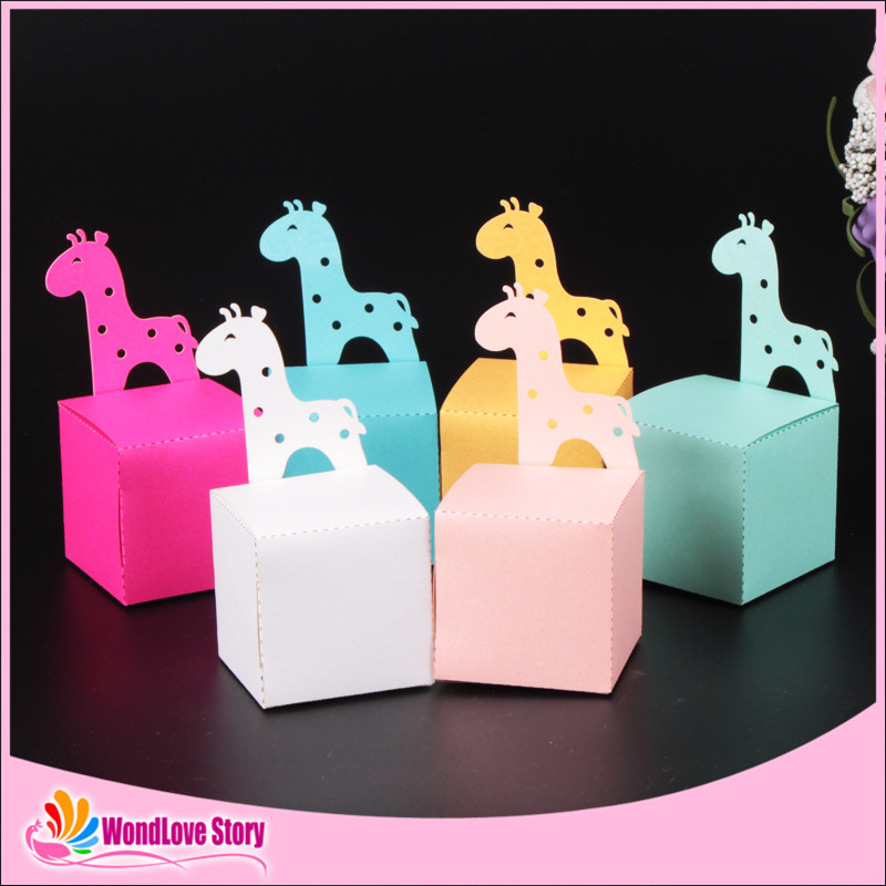 10pcs Cute Giraffe Candy Box Animal Baby Shower Favors Box Birthday Party Decoration Kids Birthday Party Supplies