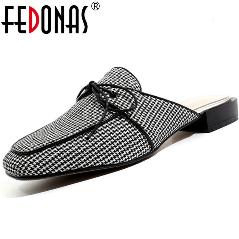 FEDONAS Spring Summer Women Comfortable Casual Pumps Mesh Striped Lattice Basic Shoes Woman Square Low Lace