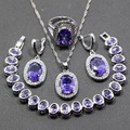 Charming 925 Sterling Silver Four Piece Women Jewelry Set Oval Purple Amethyst Earring Pendant Necklace Bracelet Ring JS86