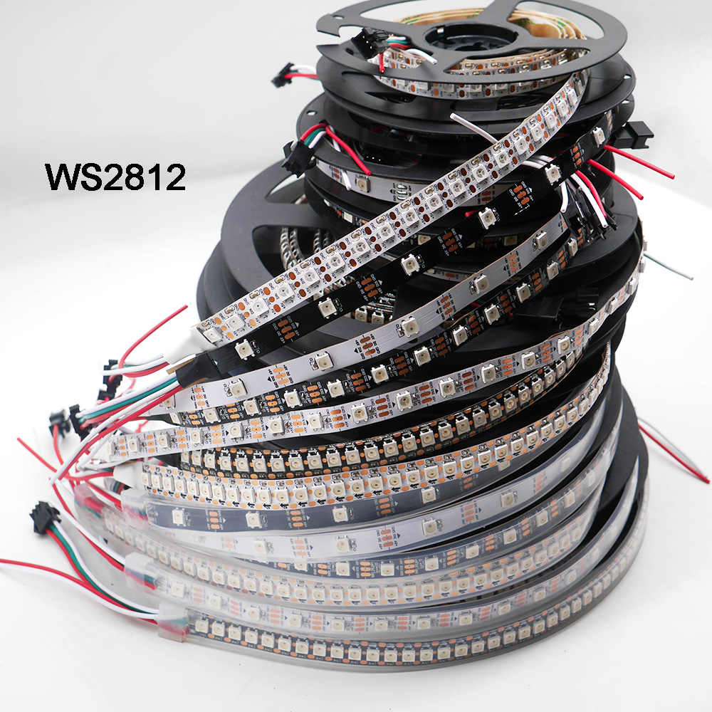 WS2812B 1 m/3 m/5 m 30/60/74/96/100/144 פיקסלים/נוריות/m חכם led פיקסל הרצועה, WS2812 IC; WS2812B/M, IP30/IP65/IP67, שחור/לבן PCB, DC5V