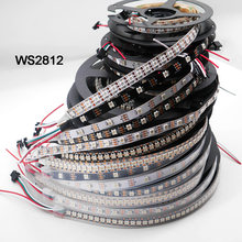WS2812B 1 M/3 M/5 M 30/60/74/96/100/144 piksel/LED/M Smart LED Pixel Strip WS2812 IC; WS2812B/M, IP30/IP65/IP67, Hitam/Putih PCB, DC5V(China)